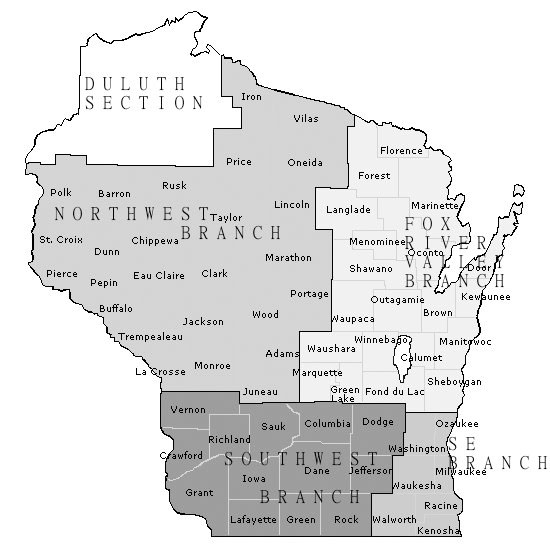 Wisconsin Branch Section map